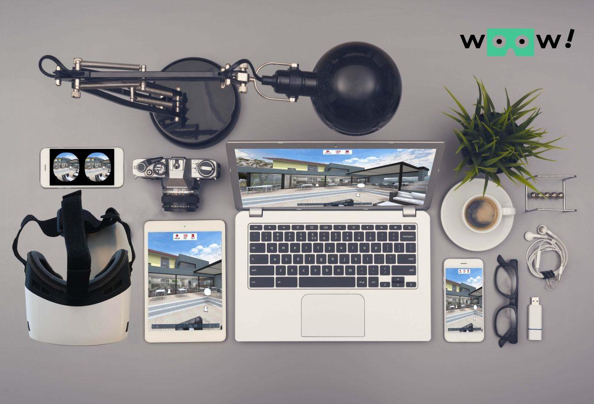 De Woow! virtual reality presentaties zijn responsive. Dus open de link in je browser van je device naar keuze en de Woow! presentatie past zich aan naar je scherm.