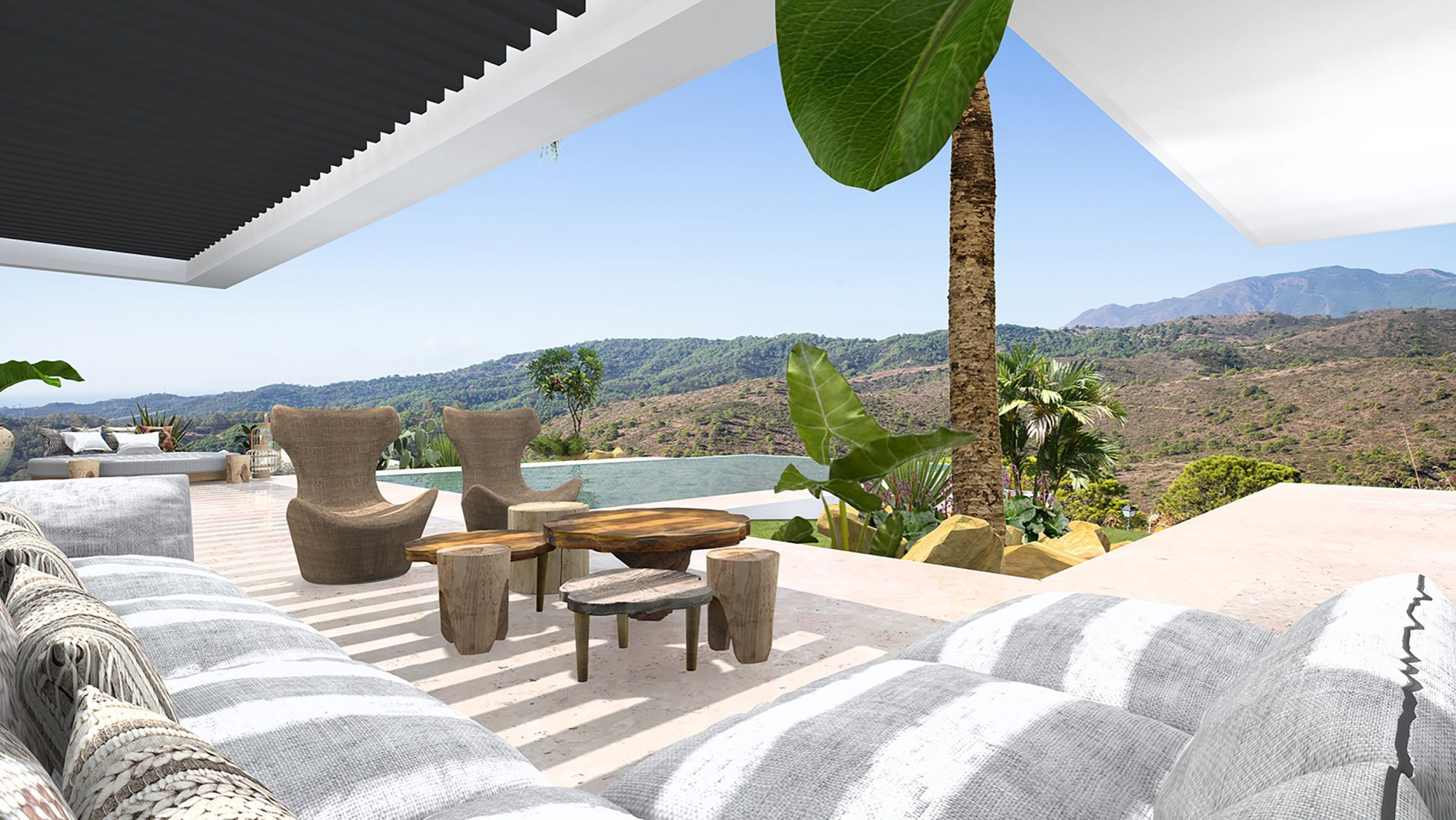 outside view spain villa 3D